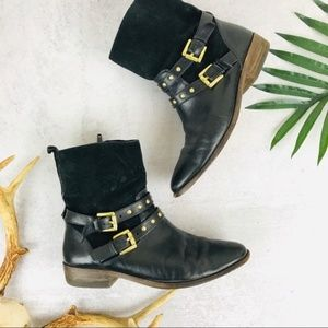 Coach Black & Gold Studded Suede Liliana Boots